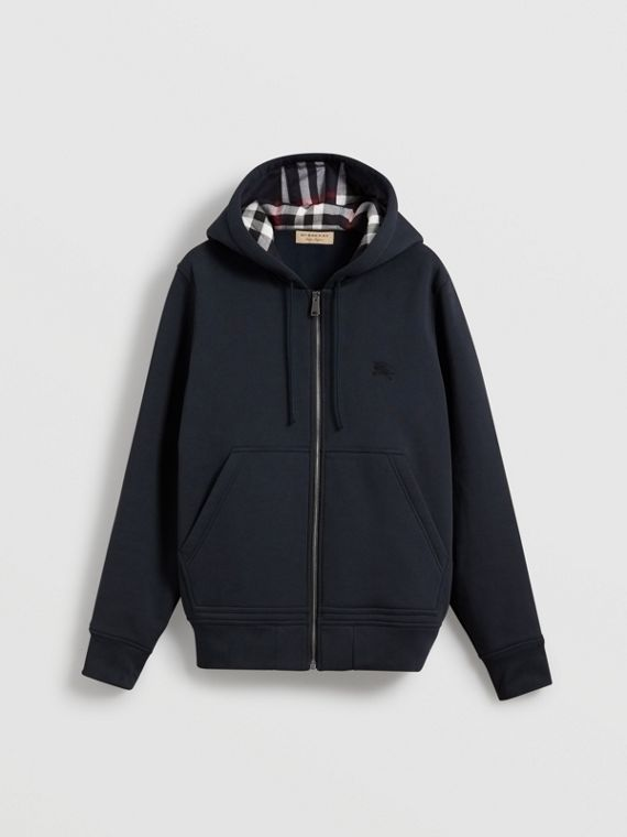 Check Detail Jersey Hooded Top in Navy