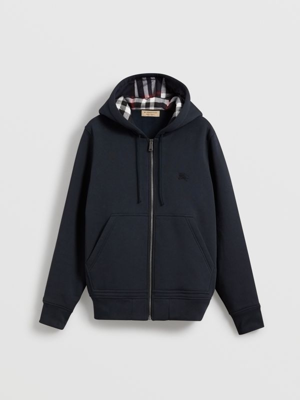 Check Detail Jersey Hooded Top in Navy - Men | Burberry Australia - cell image 3