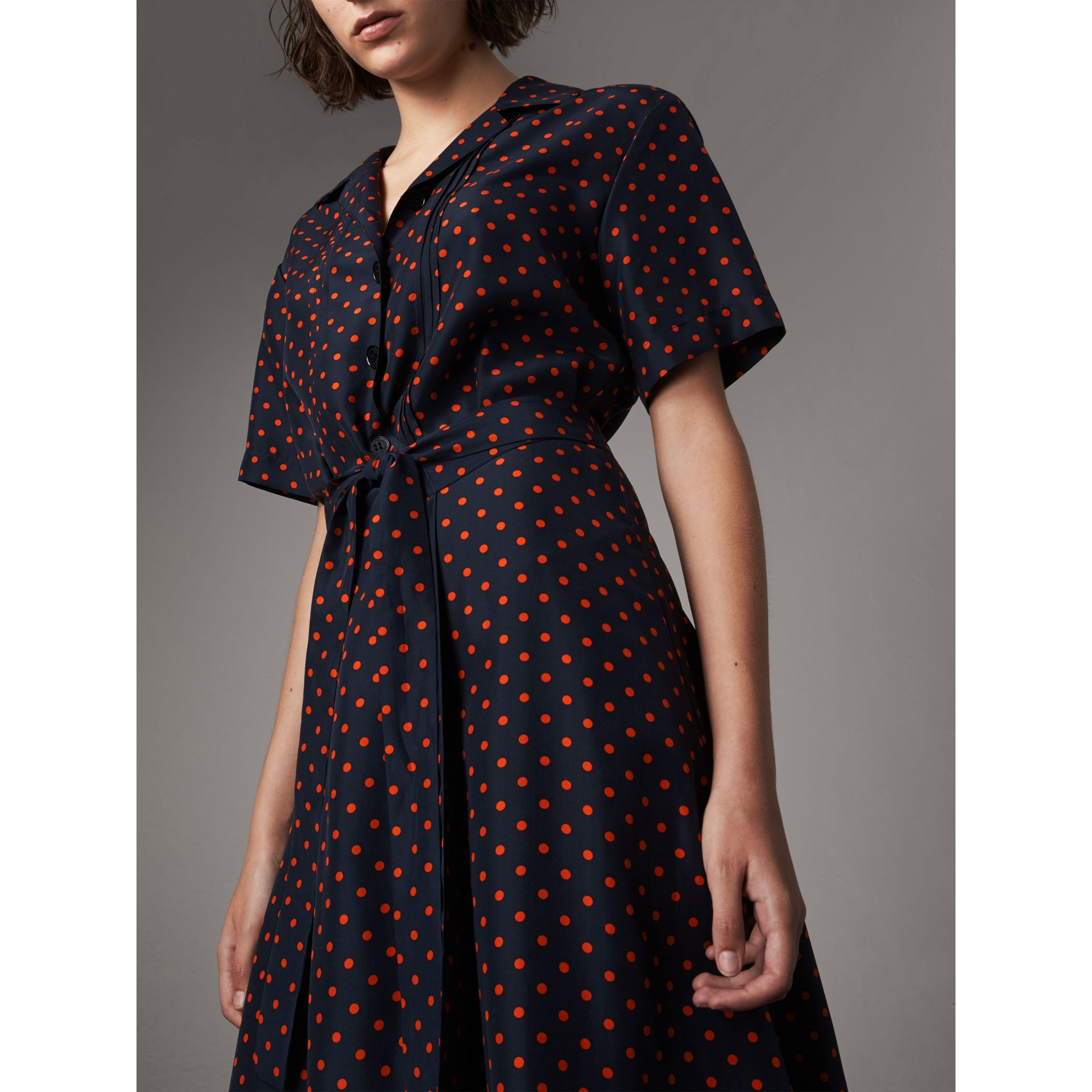 Polka-dot Silk Tea Dress in Parade Red - Women | Burberry - gallery image 1