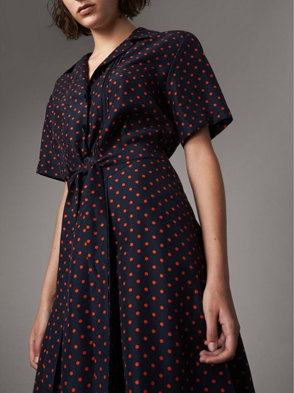 Polka-dot Silk Tea Dress in Parade Red - Women | Burberry - cell image 1