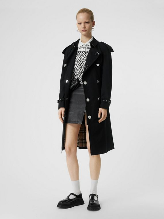 Press-stud Detail Cotton Gabardine Trench Coat in Black