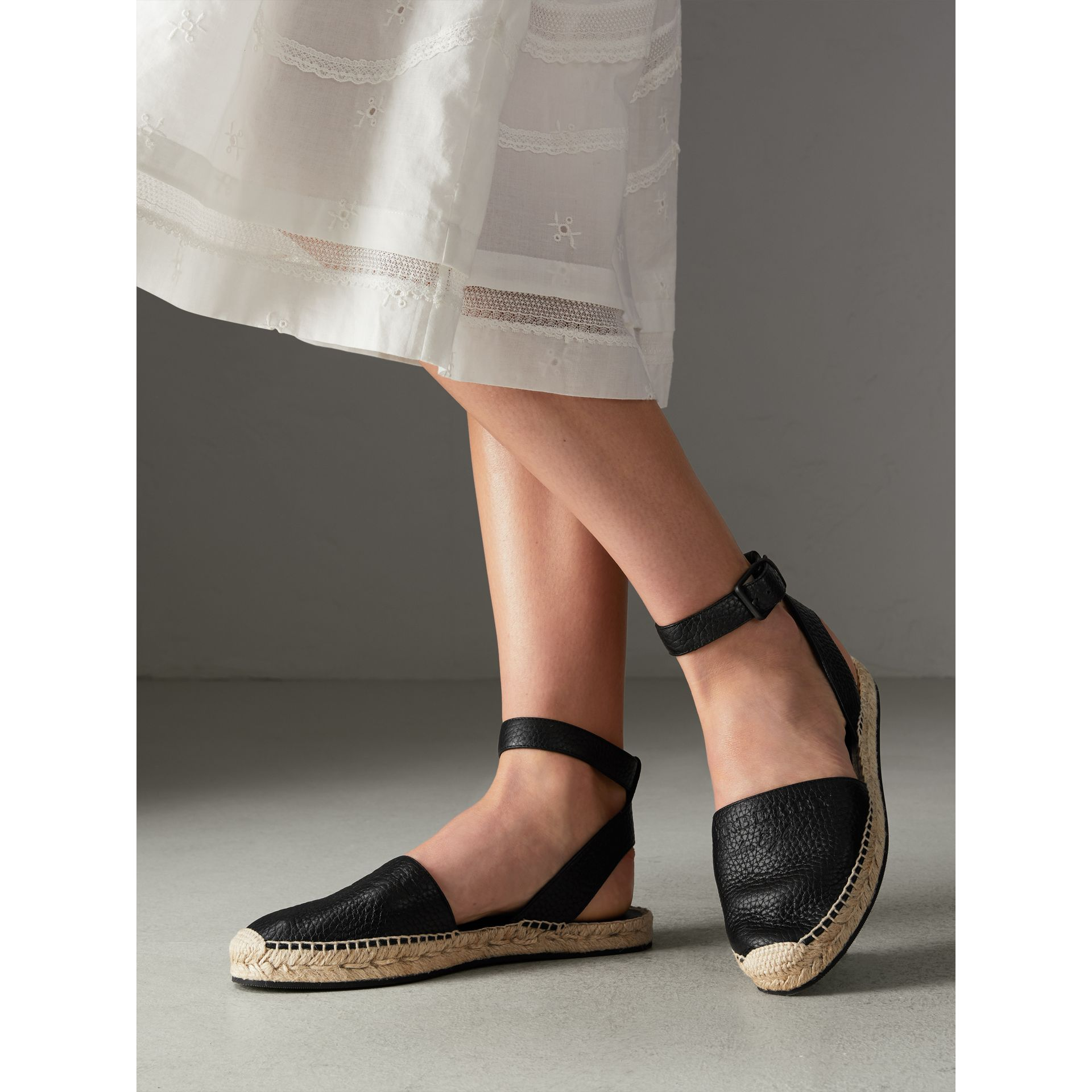 Embossed Grainy Leather Espadrille Sandals in Black - Women | Burberry United Kingdom - gallery image 2
