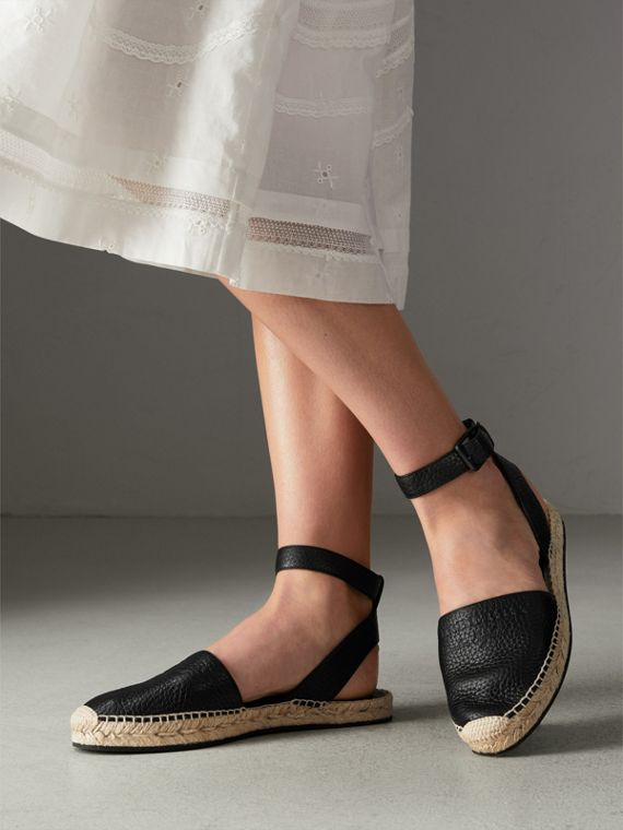 Embossed Grainy Leather Espadrille Sandals in Black - Women | Burberry Canada - cell image 2