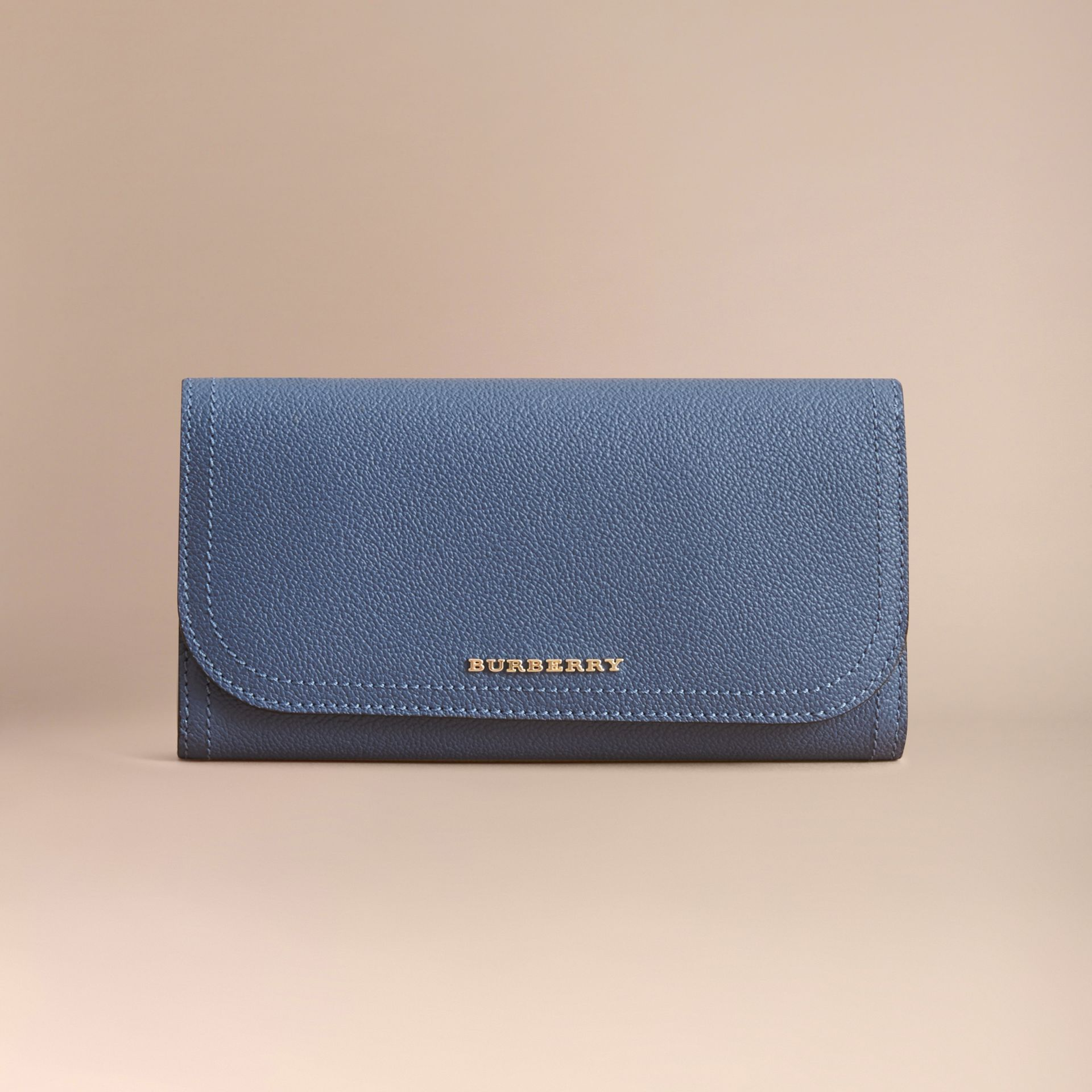 Two-tone Leather Continental Wallet and Coin Case in Steel Blue/multi - Women | Burberry - gallery image 7