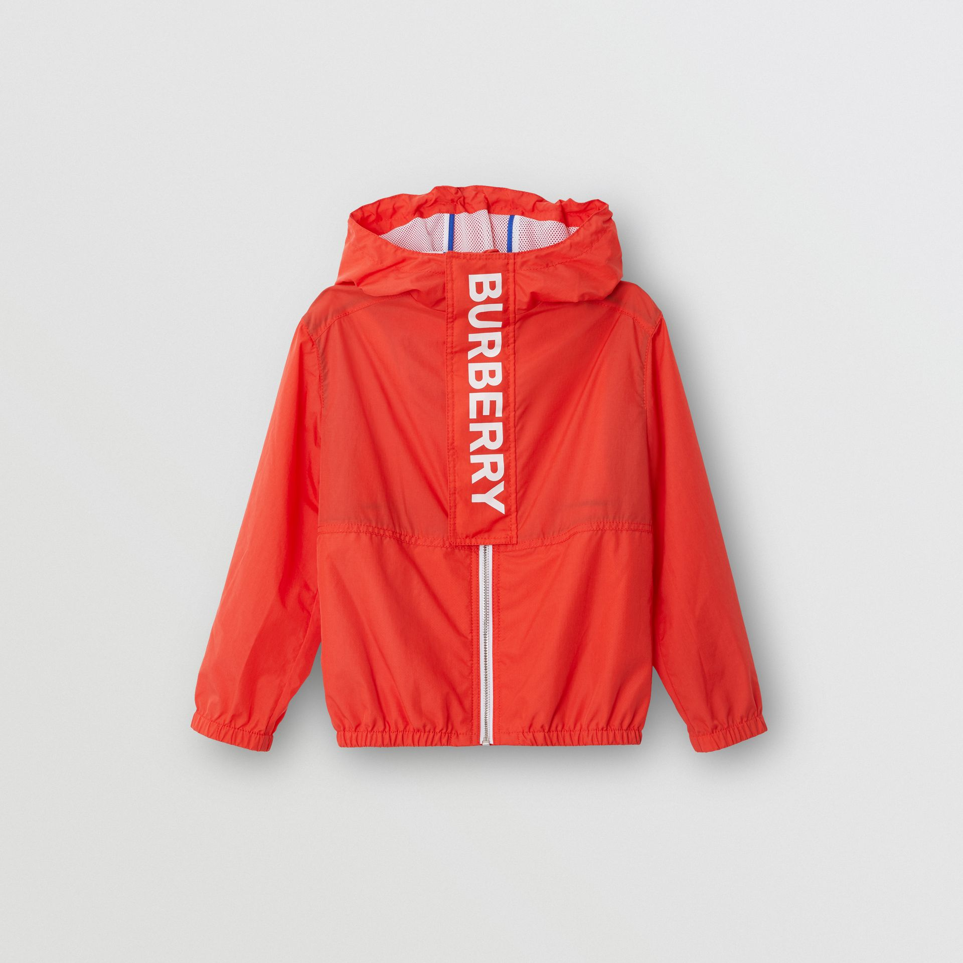 Logo Print Lightweight Hooded Jacket in Orange Red | Burberry - gallery image 0