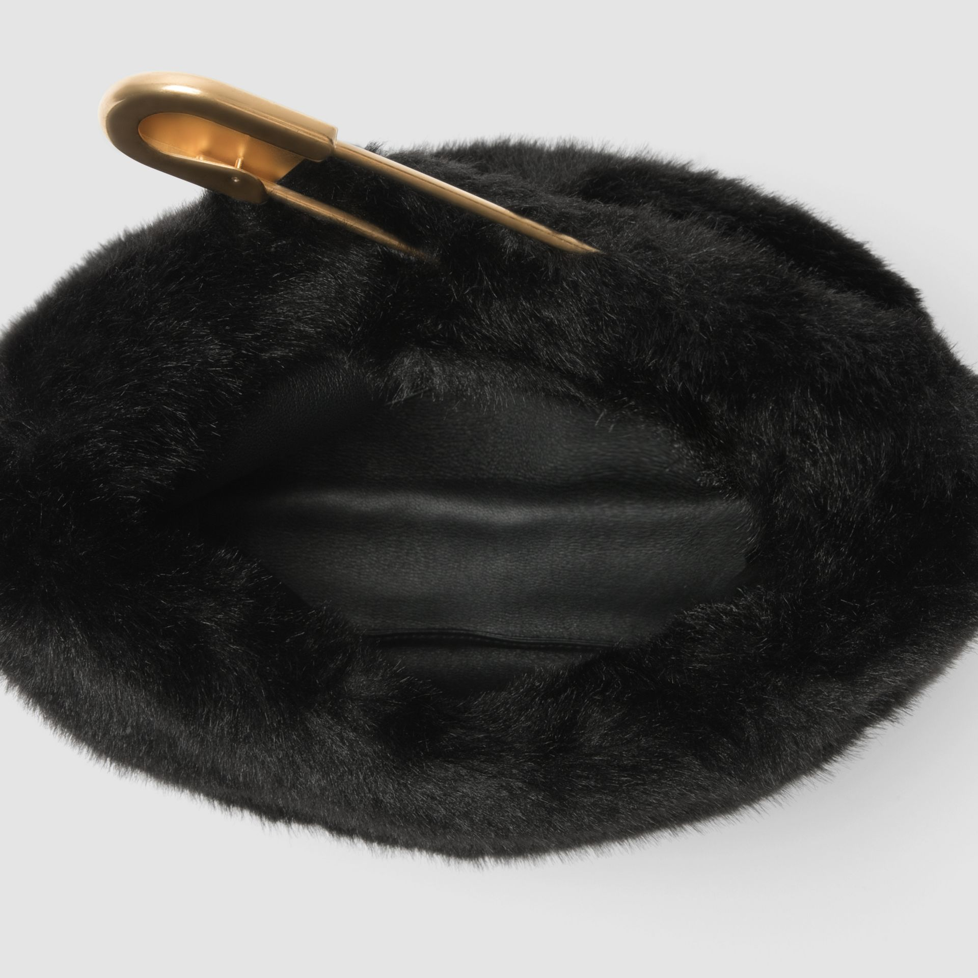 The Medium Pin Clutch in Faux Fur in Black - Women | Burberry - gallery image 3