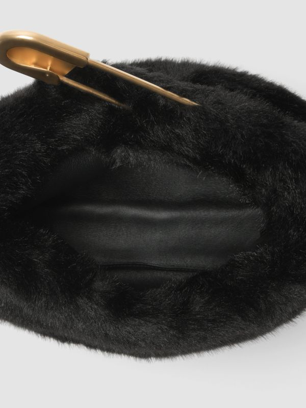 The Medium Pin Clutch in Faux Fur in Black - Women | Burberry - cell image 3