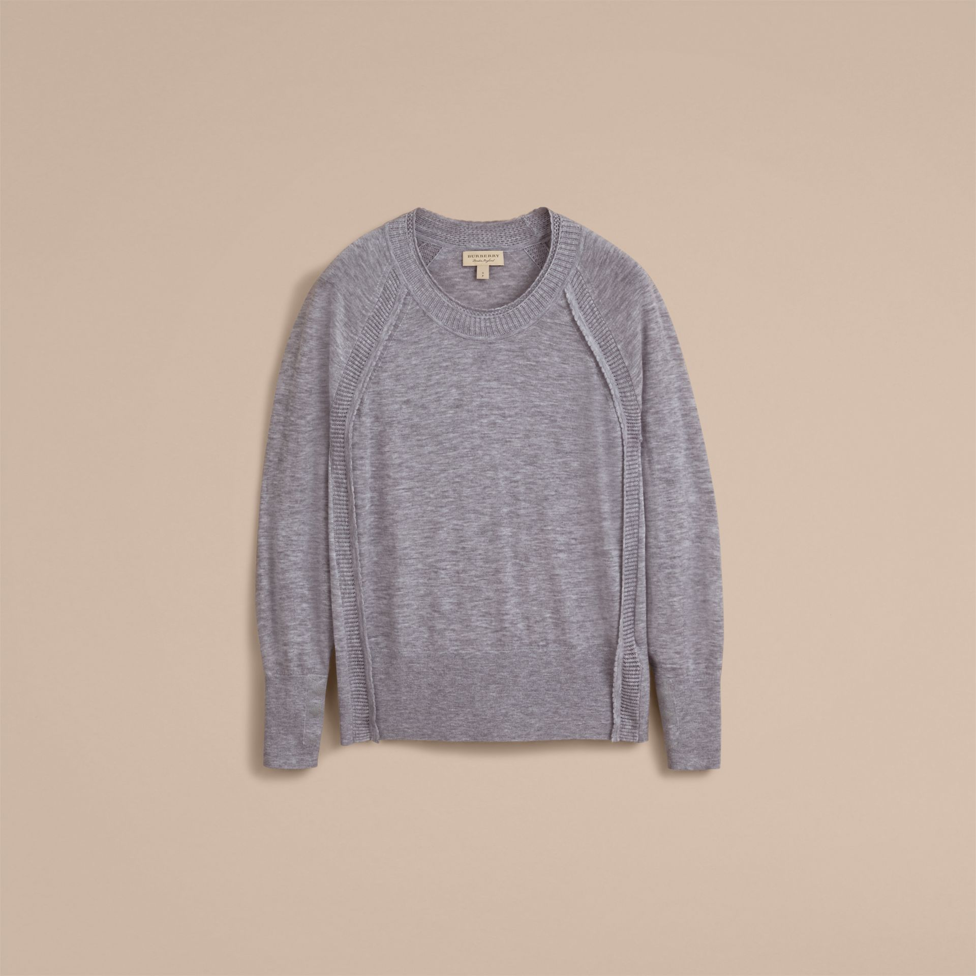 Open-knit Detail Cashmere Crew Neck Sweater in Light Grey Melange - gallery image 4