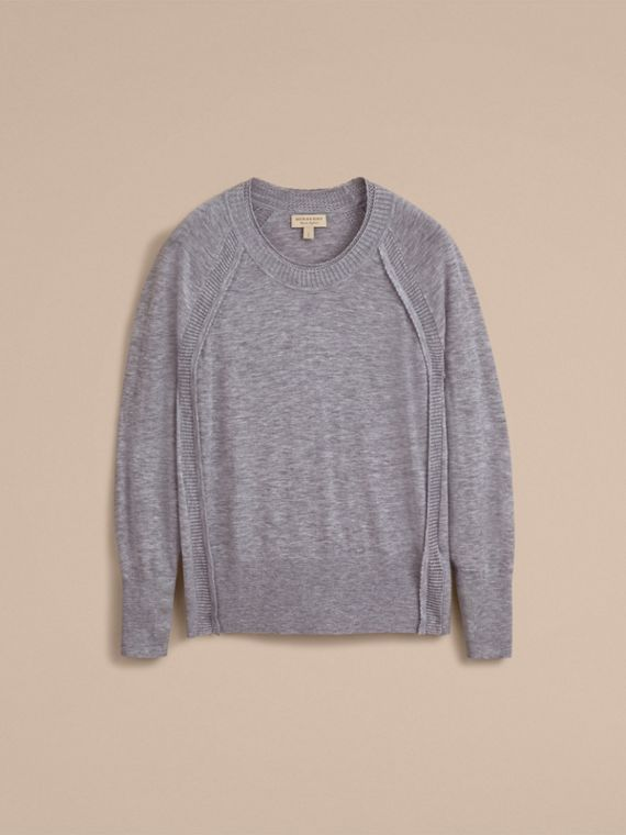 Open-knit Detail Cashmere Crew Neck Sweater in Light Grey Melange - Women | Burberry - cell image 3