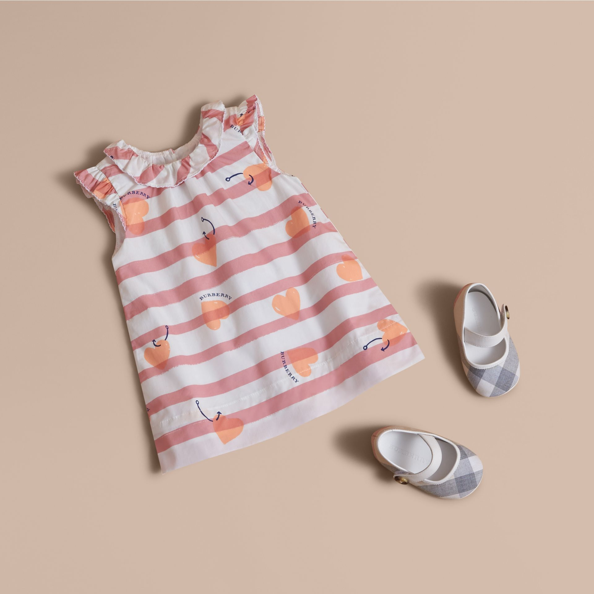 Ruffle Detail Hooked Heart Print Cotton Dress - gallery image 1
