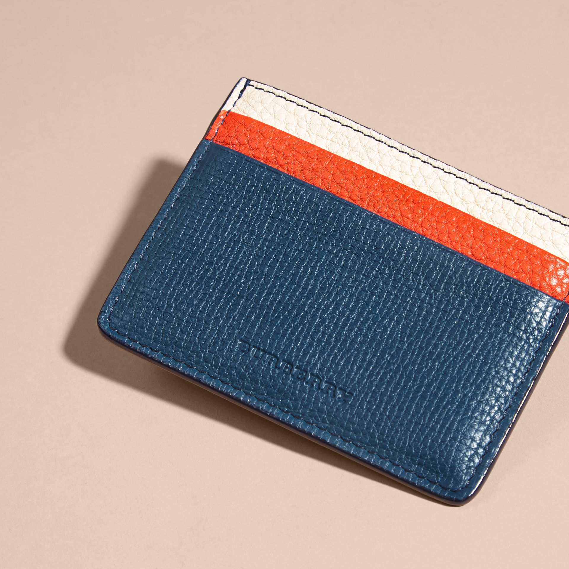 Marine blue Colour Block Leather Card Case - gallery image 4