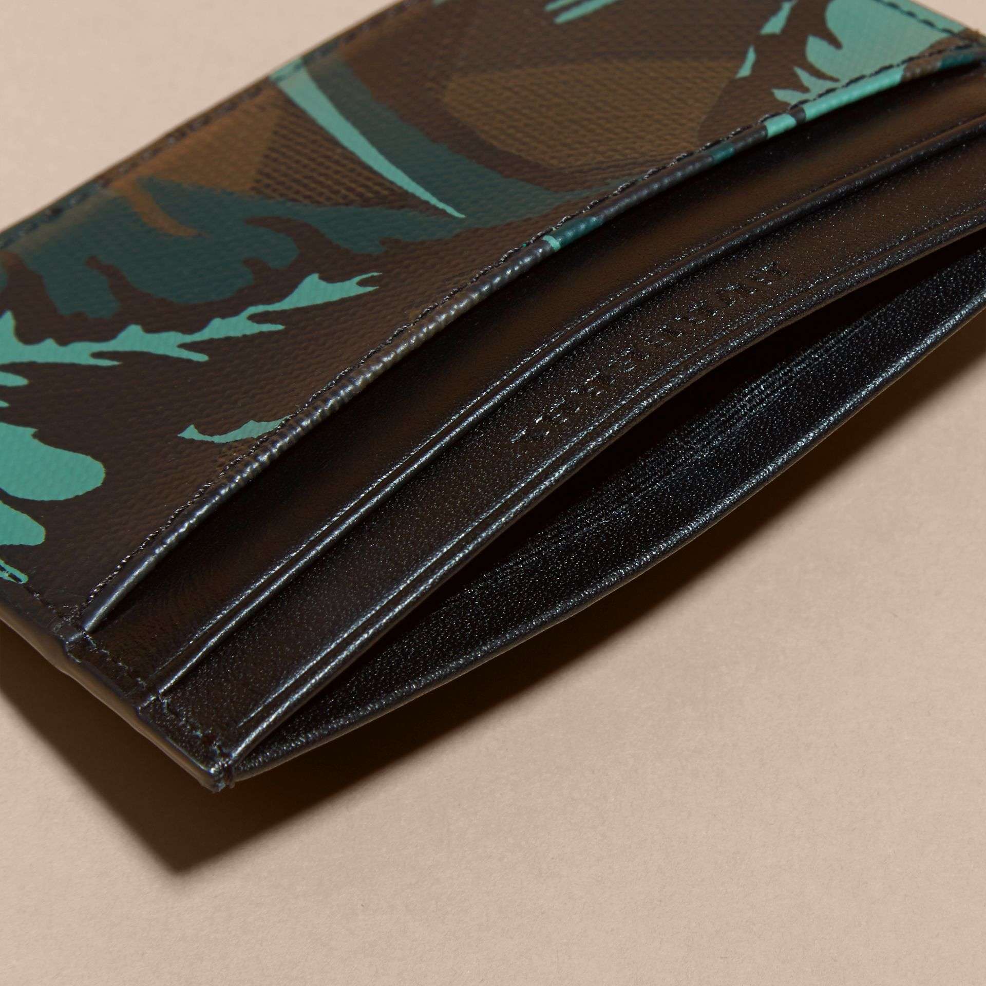 Floral Print London Check Card Case in Chocolate - Men | Burberry - gallery image 5