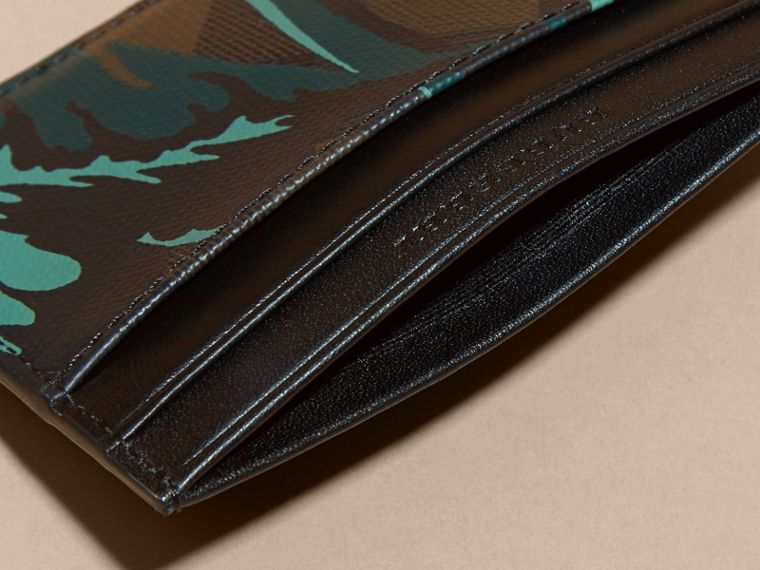 Floral Print London Check Card Case in Chocolate - Men | Burberry - cell image 4