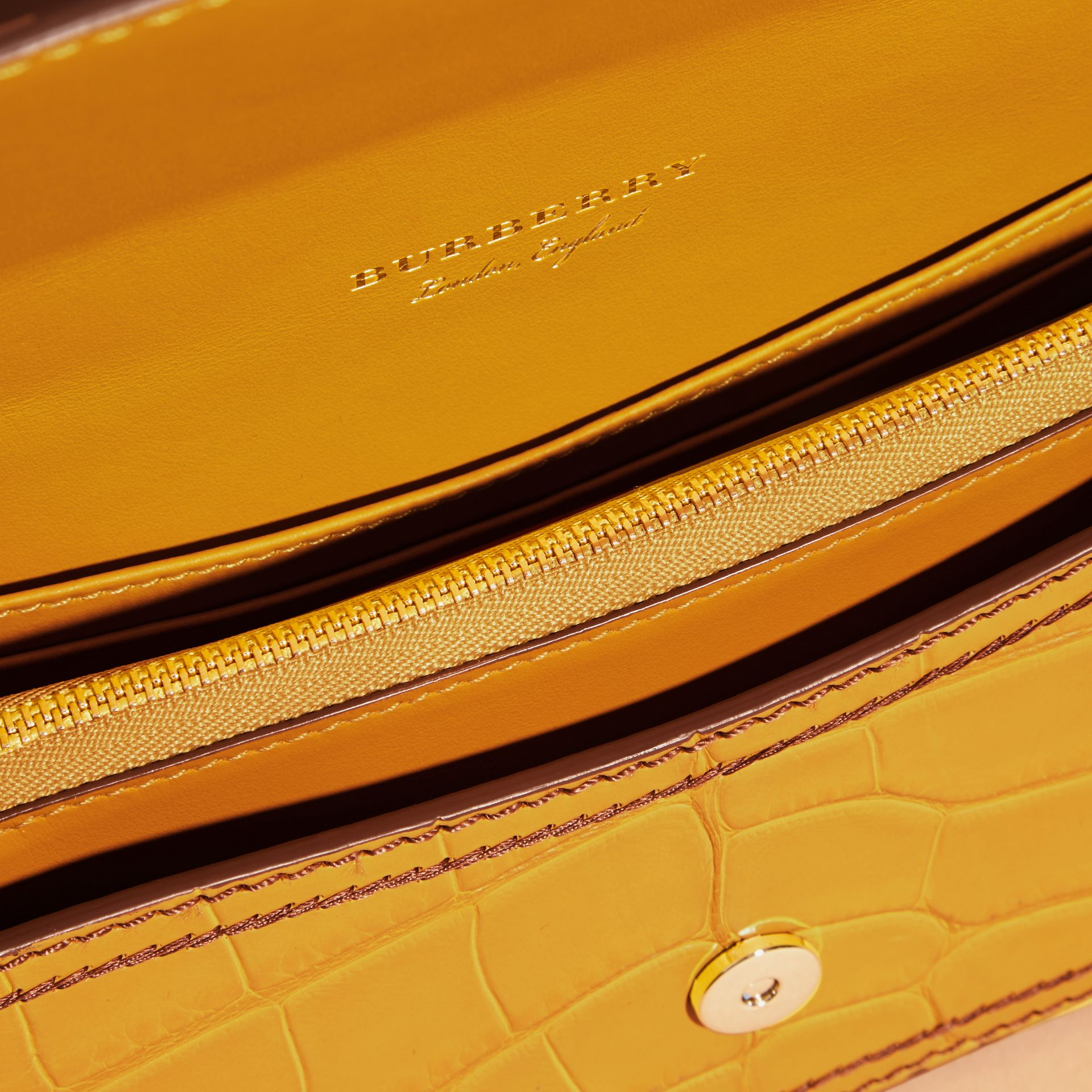 The Small Buckle Bag in Alligator and Leather Citrus Yellow / Tan - gallery image 6