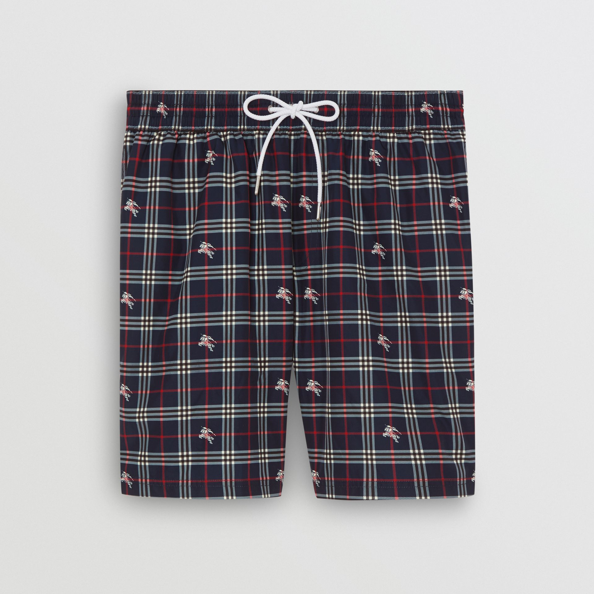 Equestrian Knight Check Drawcord Swim Shorts in Navy - Men | Burberry United Kingdom - gallery image 3