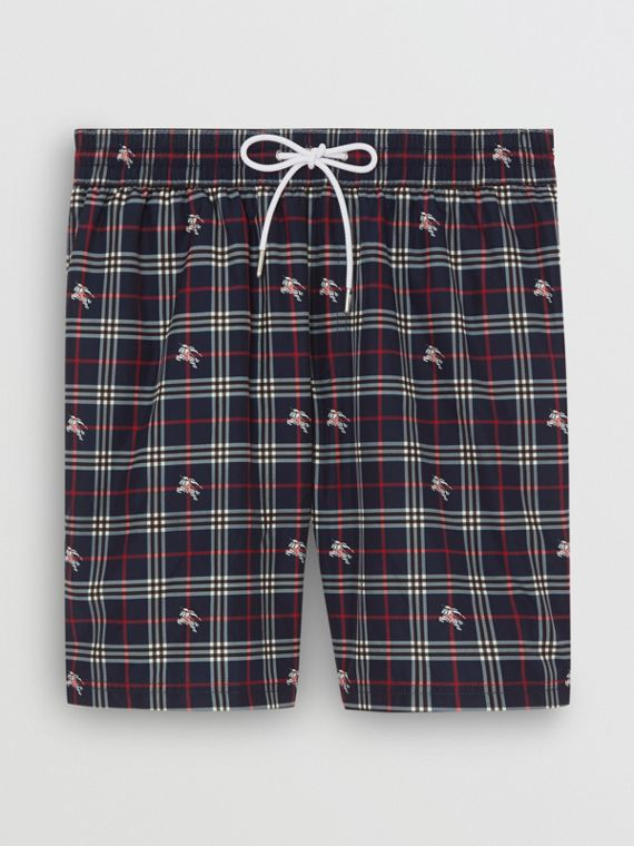 Equestrian Knight Check Drawcord Swim Shorts in Navy
