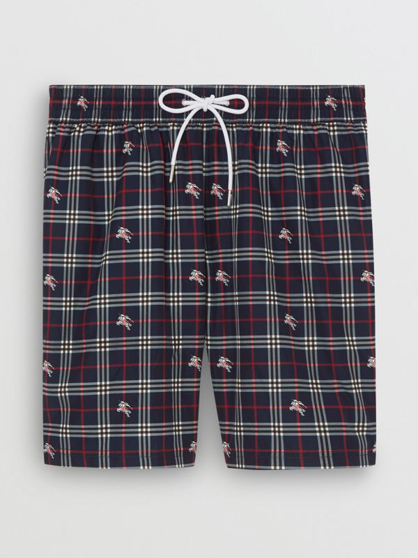 Equestrian Knight Check Drawcord Swim Shorts in Navy - Men | Burberry - cell image 3
