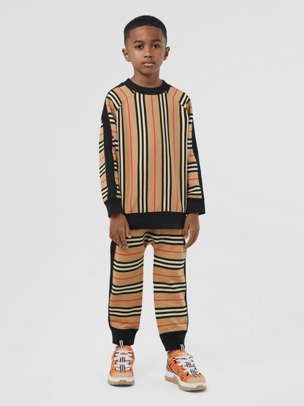 Icon Stripe Cotton Sweatshirt in Archive Beige