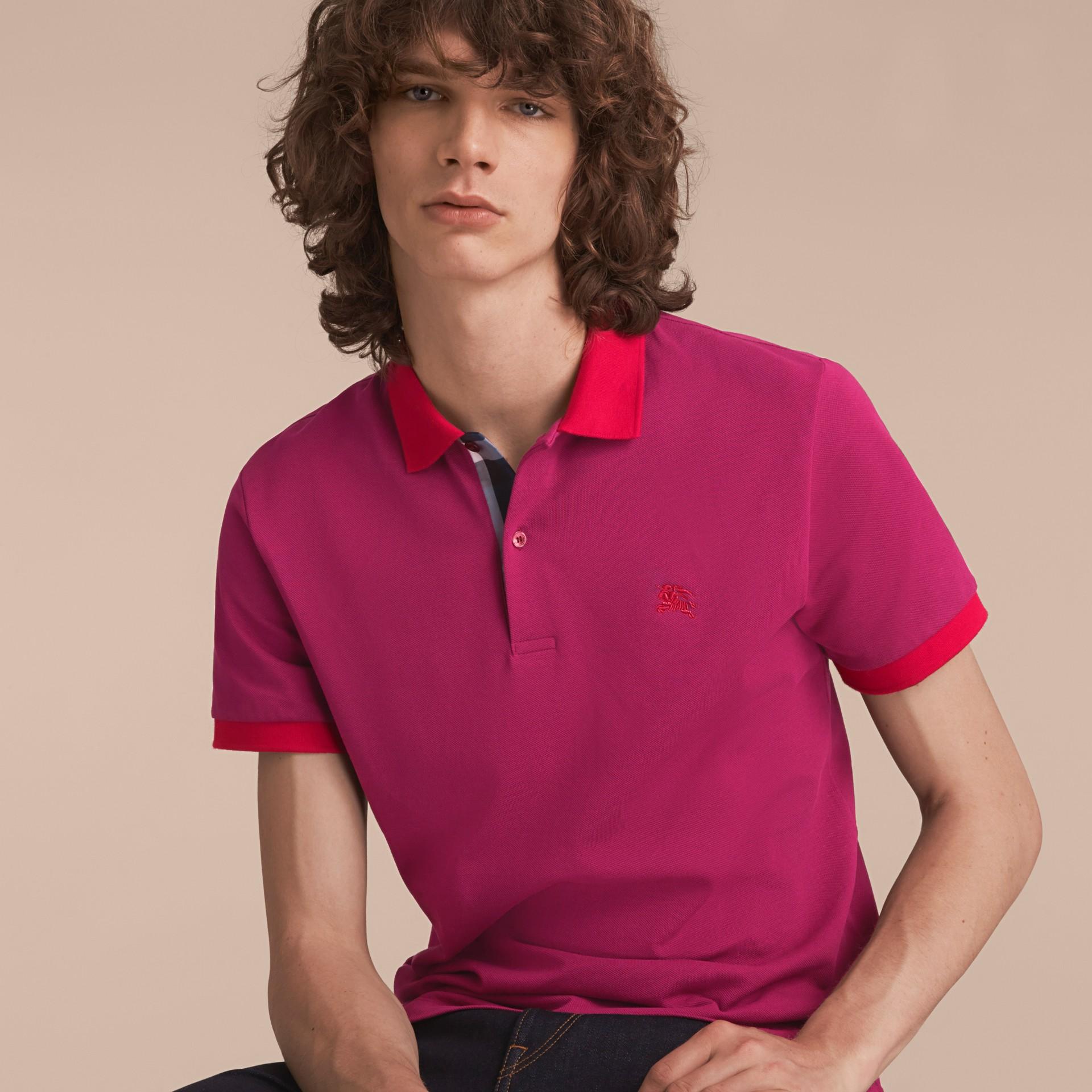 Two-tone Check Placket Cotton Piqué Polo Shirt Raspberry Sorbet - gallery image 6