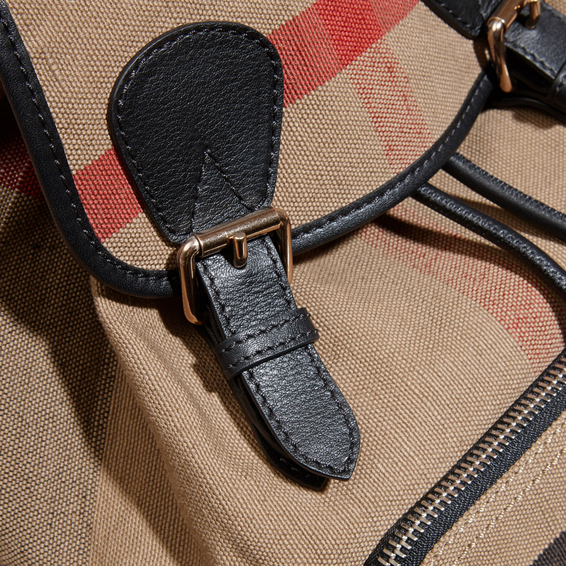 The Medium Rucksack in Canvas Check and Leather - gallery image 2