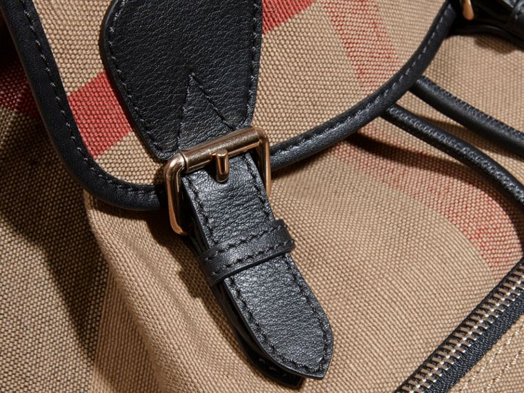 The Medium Rucksack in Canvas Check and Leather - cell image 1