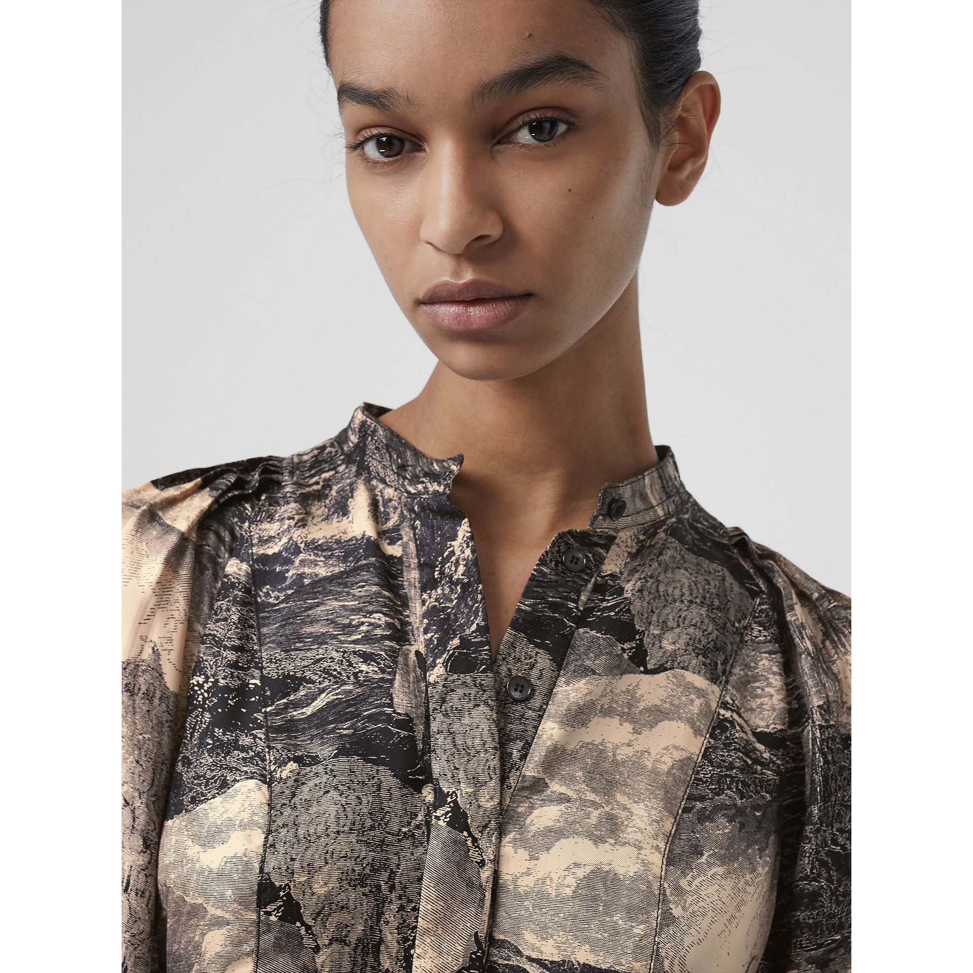 Puff-sleeve Dreamscape Print Silk Blouse in Pale Apricot - Women | Burberry Australia - gallery image 1
