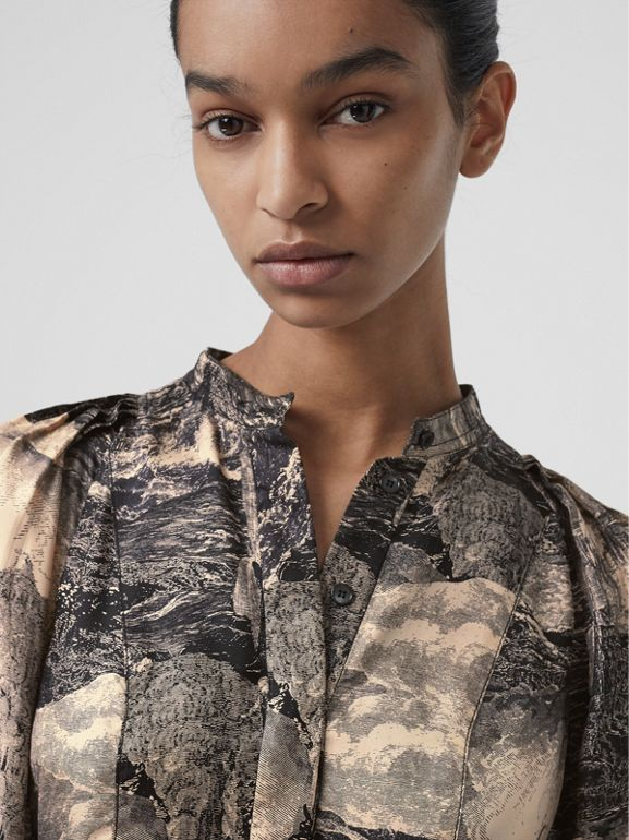 Puff-sleeve Dreamscape Print Silk Blouse in Pale Apricot - Women | Burberry Australia - cell image 1
