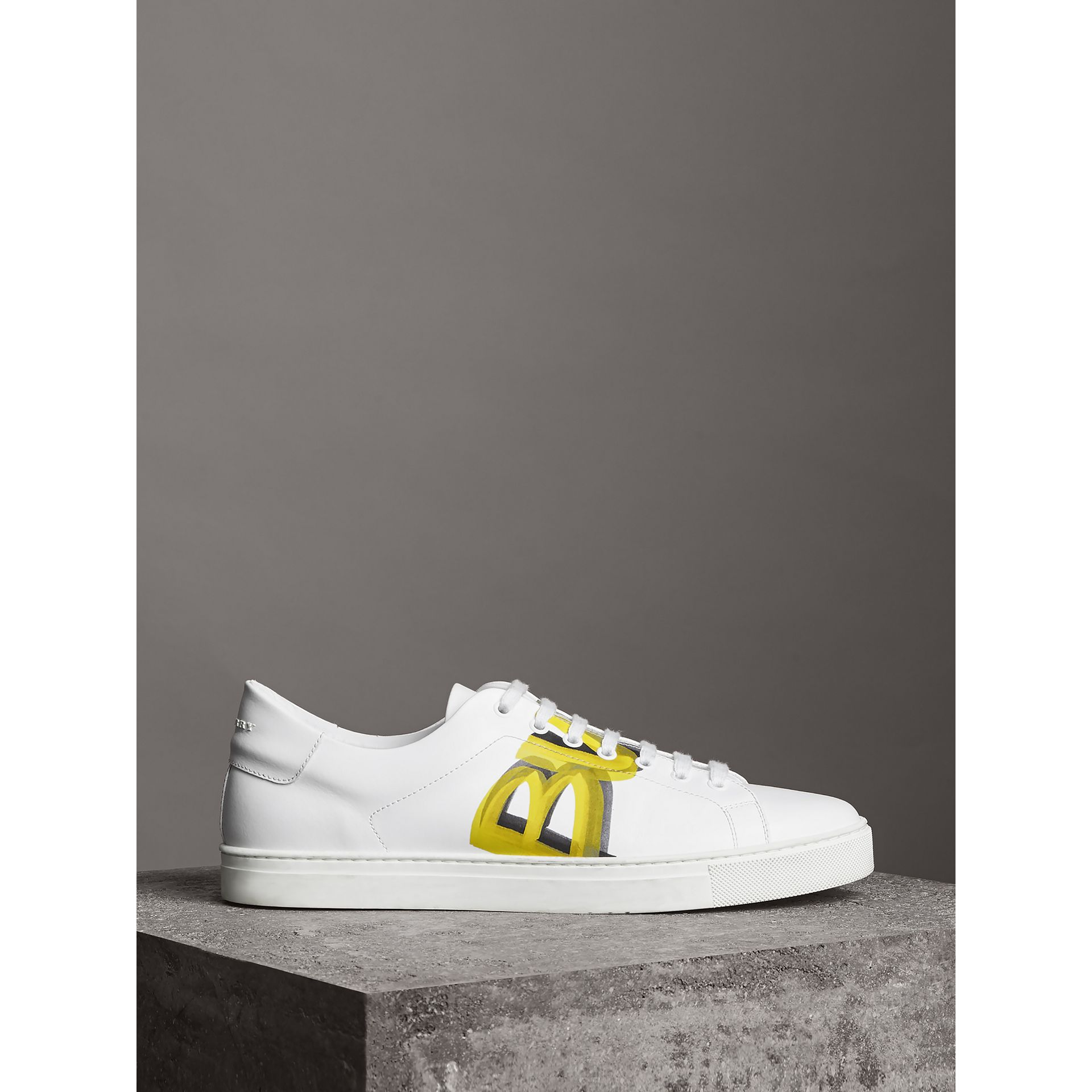 Logo Print Leather Sneakers in Optic White/yellow - Men | Burberry Australia - gallery image 4