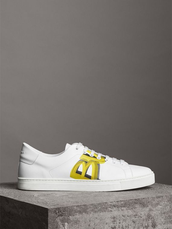 Logo Print Leather Sneakers in Optic White/yellow
