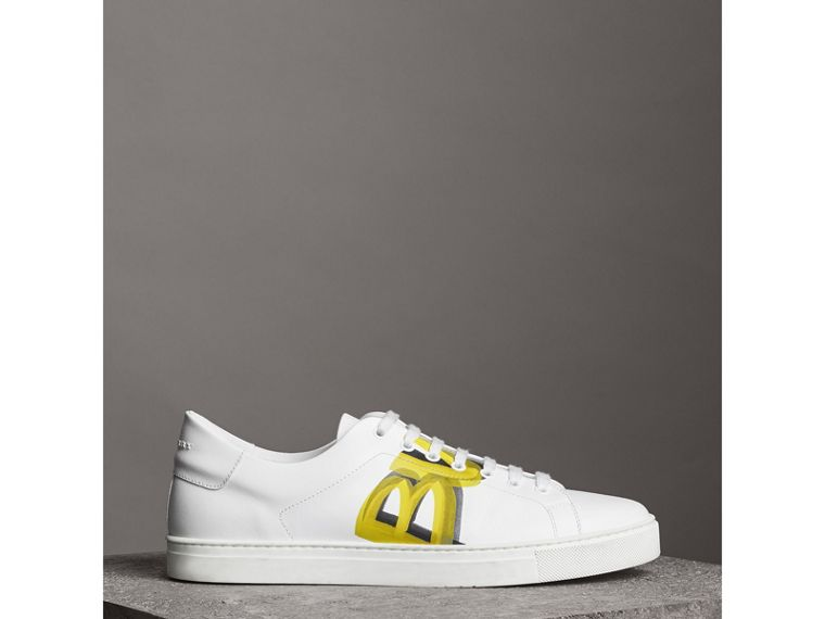 Logo Print Leather Sneakers in Optic White/yellow - Men | Burberry United States - cell image 4