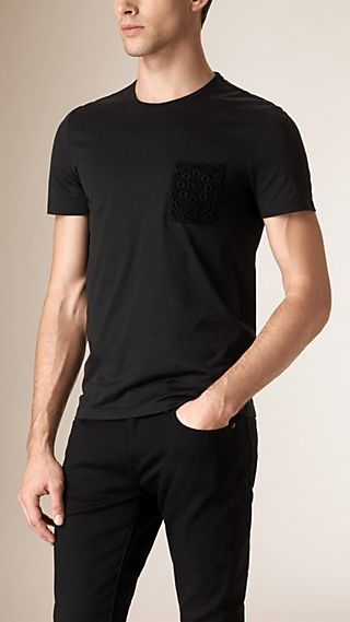 Lace Pocket Cotton T-Shirt