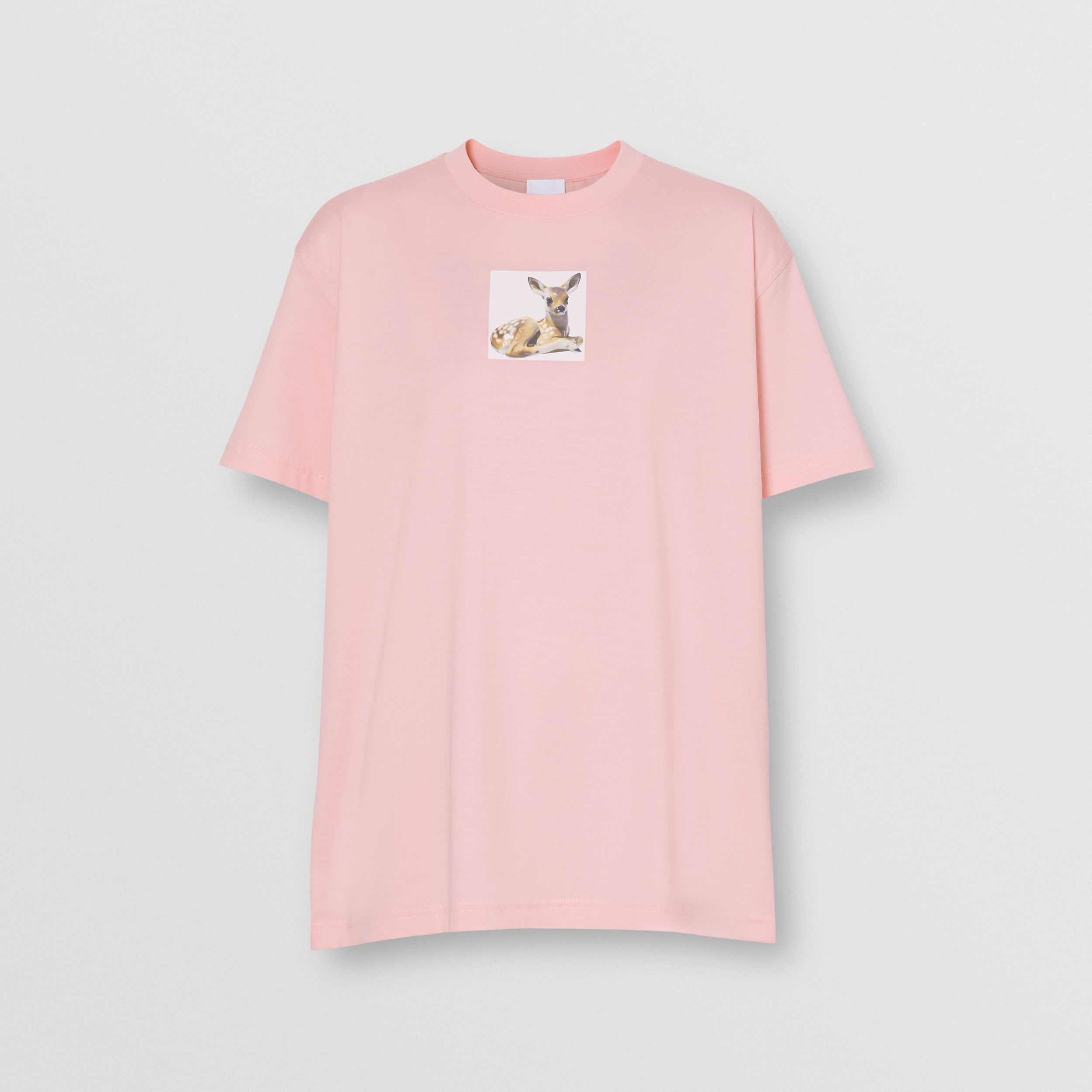 Deer Print Cotton T-shirt in Candy Pink - Women | Burberry - 4