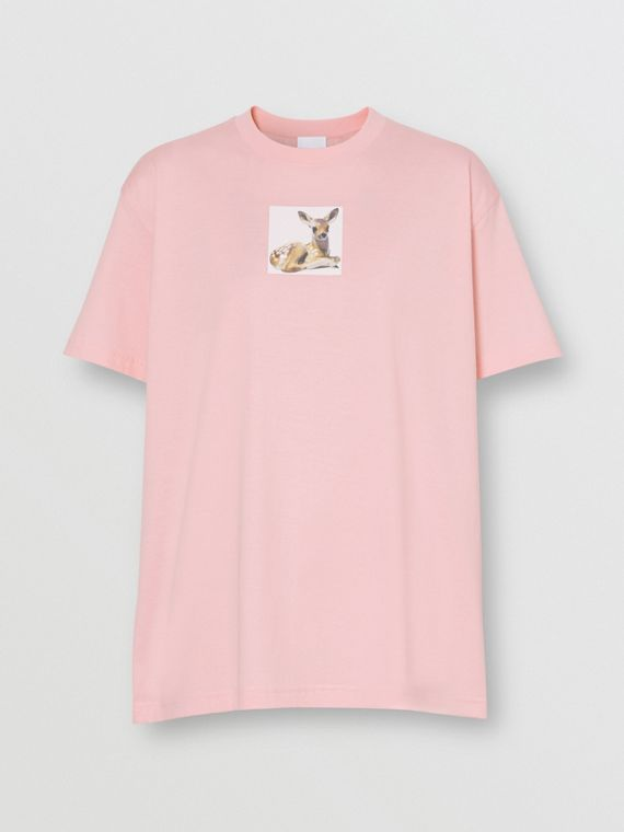 Deer Print Cotton T-shirt in Candy Pink