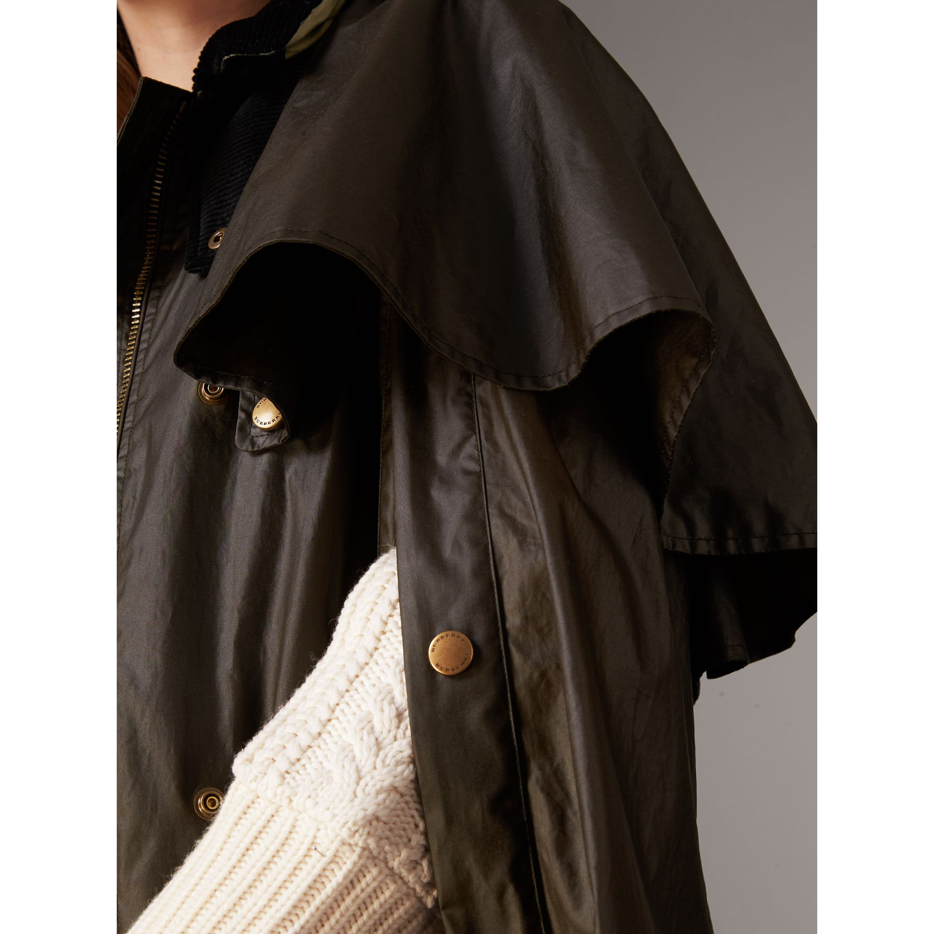 Corduroy Collar Waxed Cotton Cape in Dark Olive - Women | Burberry - gallery image 4