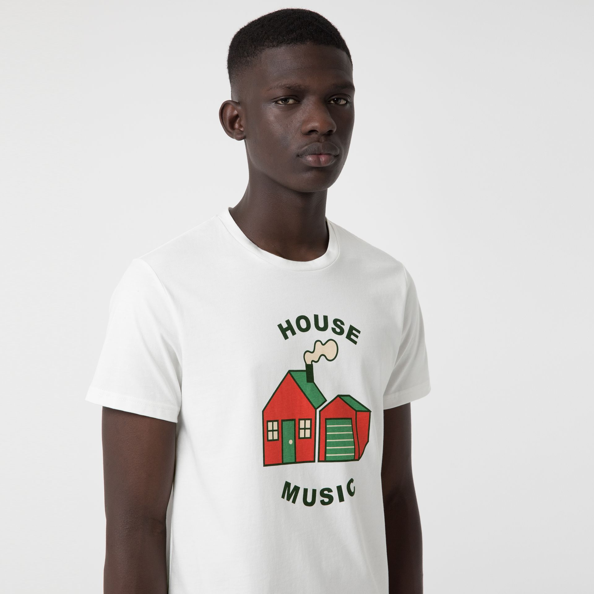 House Music Print Cotton T-shirt in White - Men | Burberry - gallery image 1