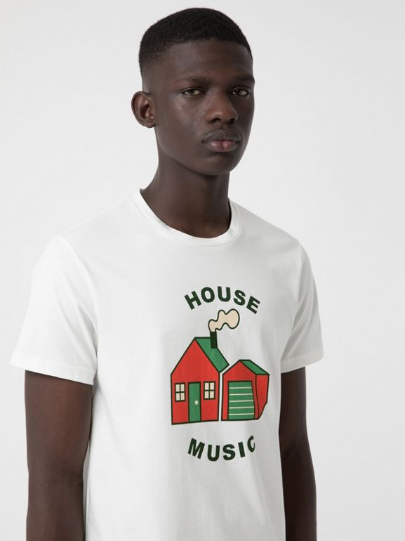 House Music Print Cotton T-shirt in White - Men | Burberry United States - cell image 1