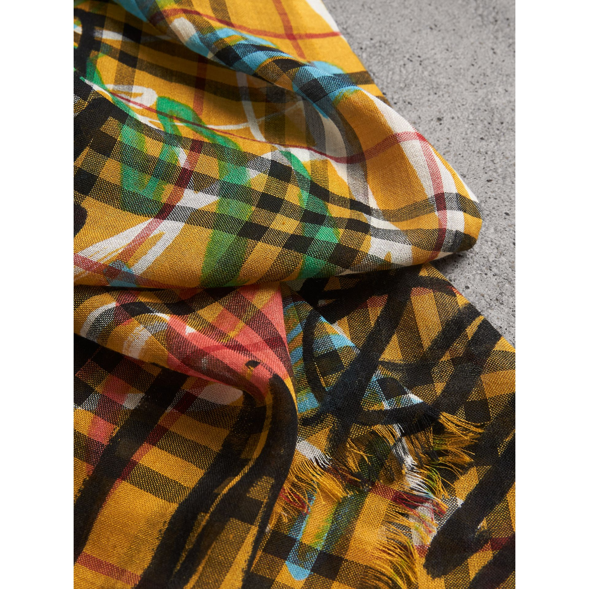 Graffiti Print Vintage Check Wool Silk Scarf in Amber Yellow | Burberry - gallery image 1