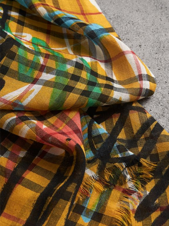 Graffiti Print Vintage Check Wool Silk Scarf in Amber Yellow | Burberry - cell image 1