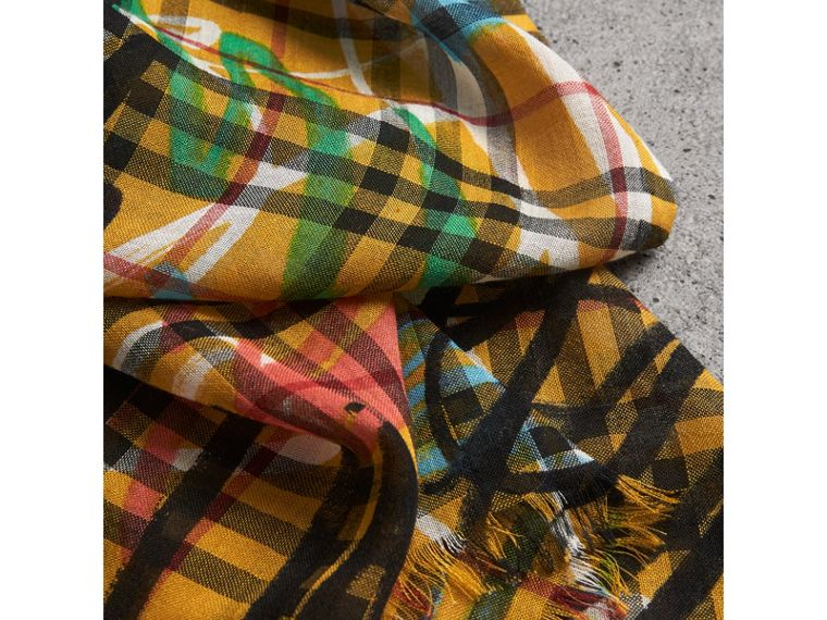 Graffiti Print Vintage Check Wool Silk Scarf in Amber Yellow | Burberry United Kingdom - cell image 1