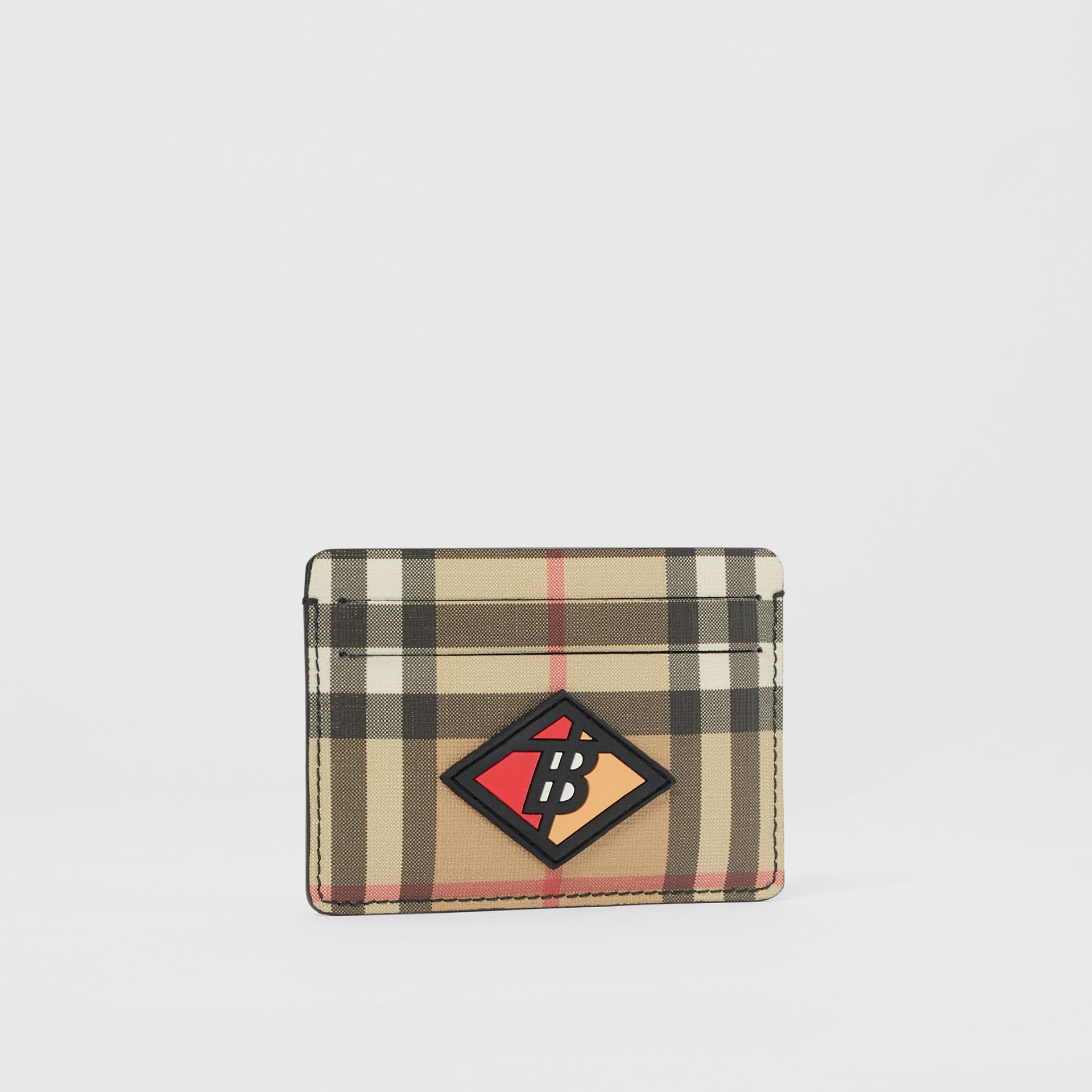 Logo Graphic Vintage Check E-canvas Card Case in Archive Beige | Burberry - gallery image 3