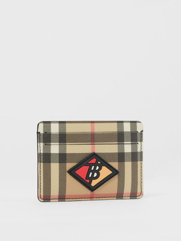 Logo Graphic Vintage Check E-canvas Card Case in Archive Beige | Burberry - cell image 3