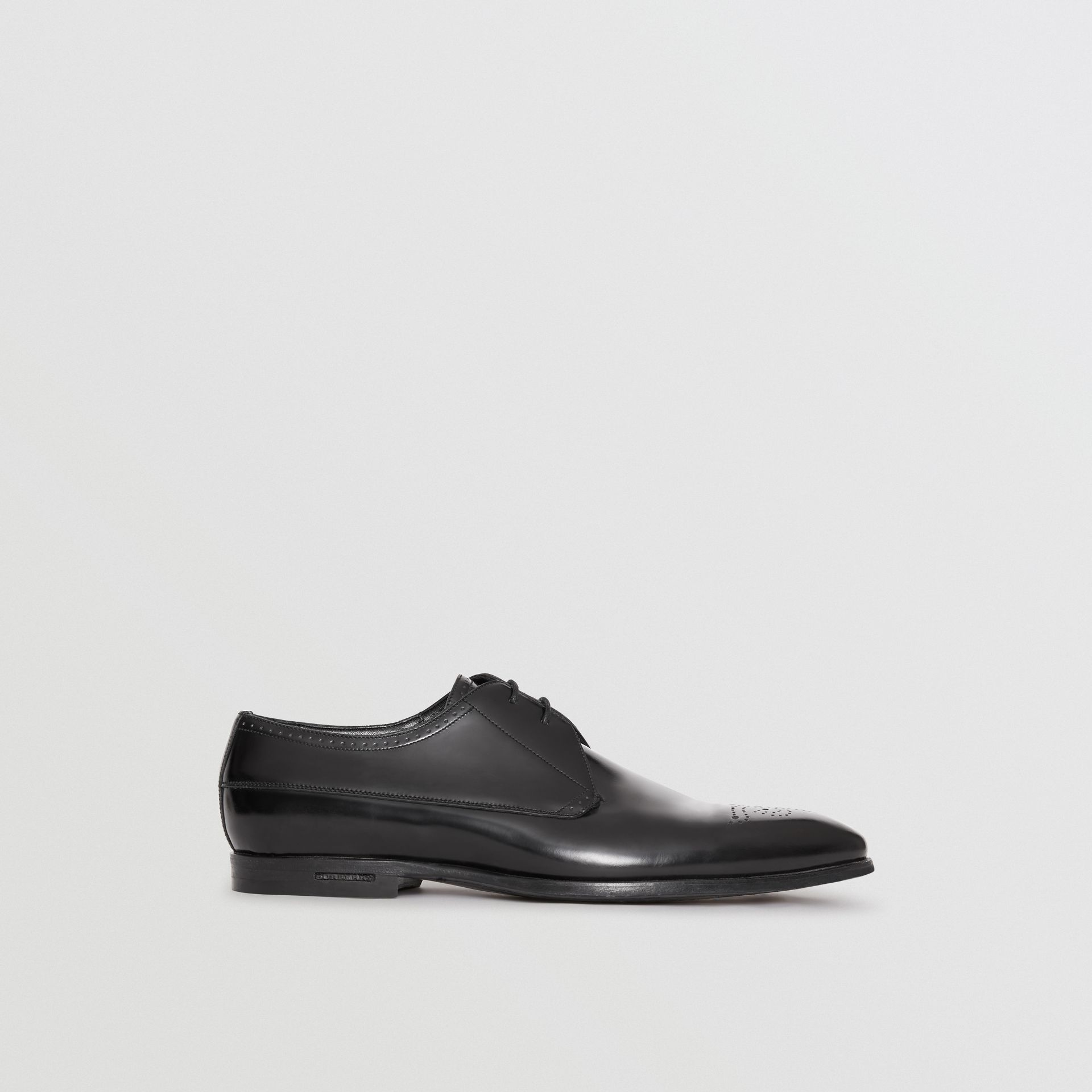 Perforated Detail Leather Derby Shoes in Black - Men | Burberry - gallery image 4