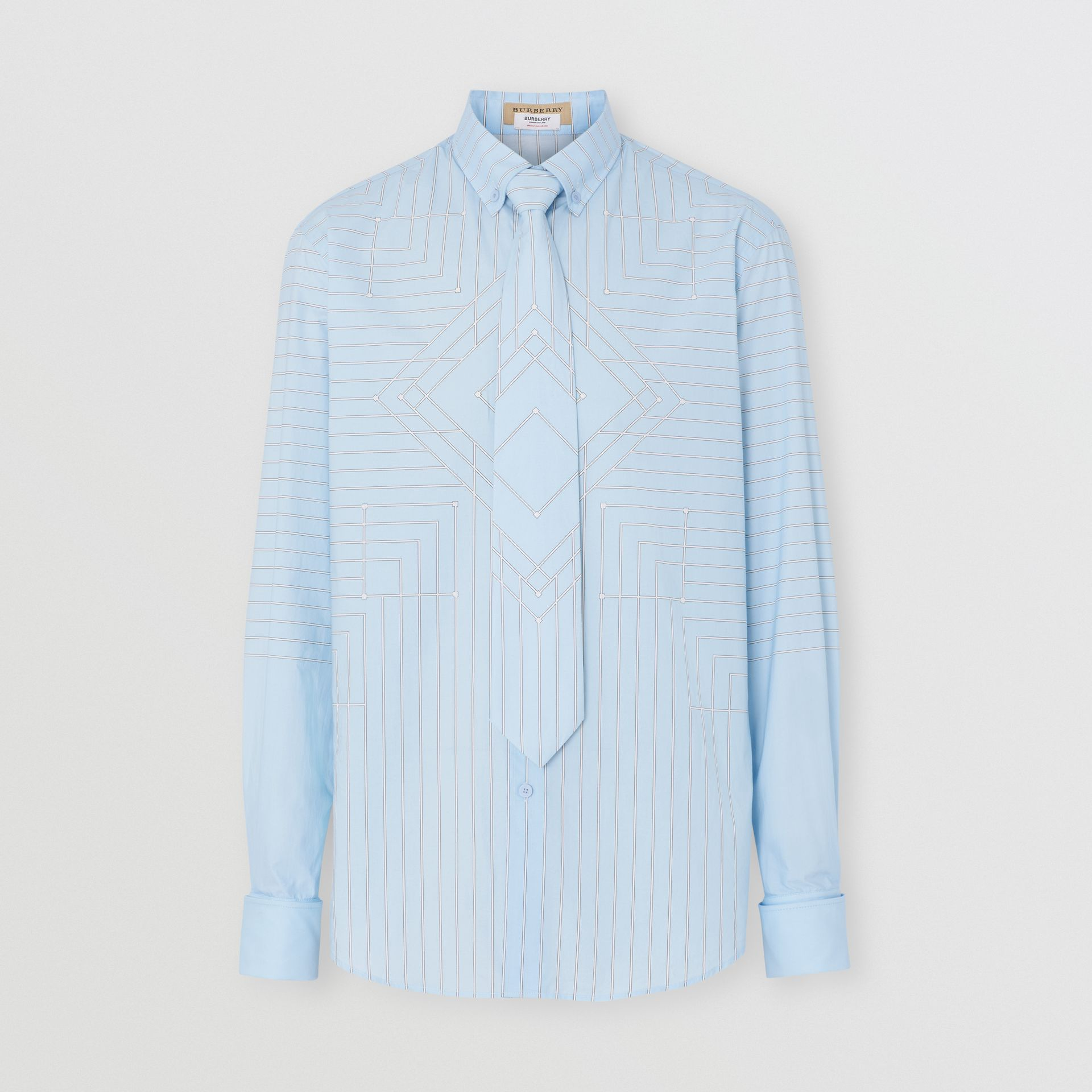 Button-down Collar Geometric Print Cotton Shirt in Pale Blue | Burberry - gallery image 3