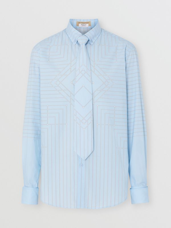 Button-down Collar Geometric Print Cotton Shirt in Pale Blue | Burberry - cell image 3