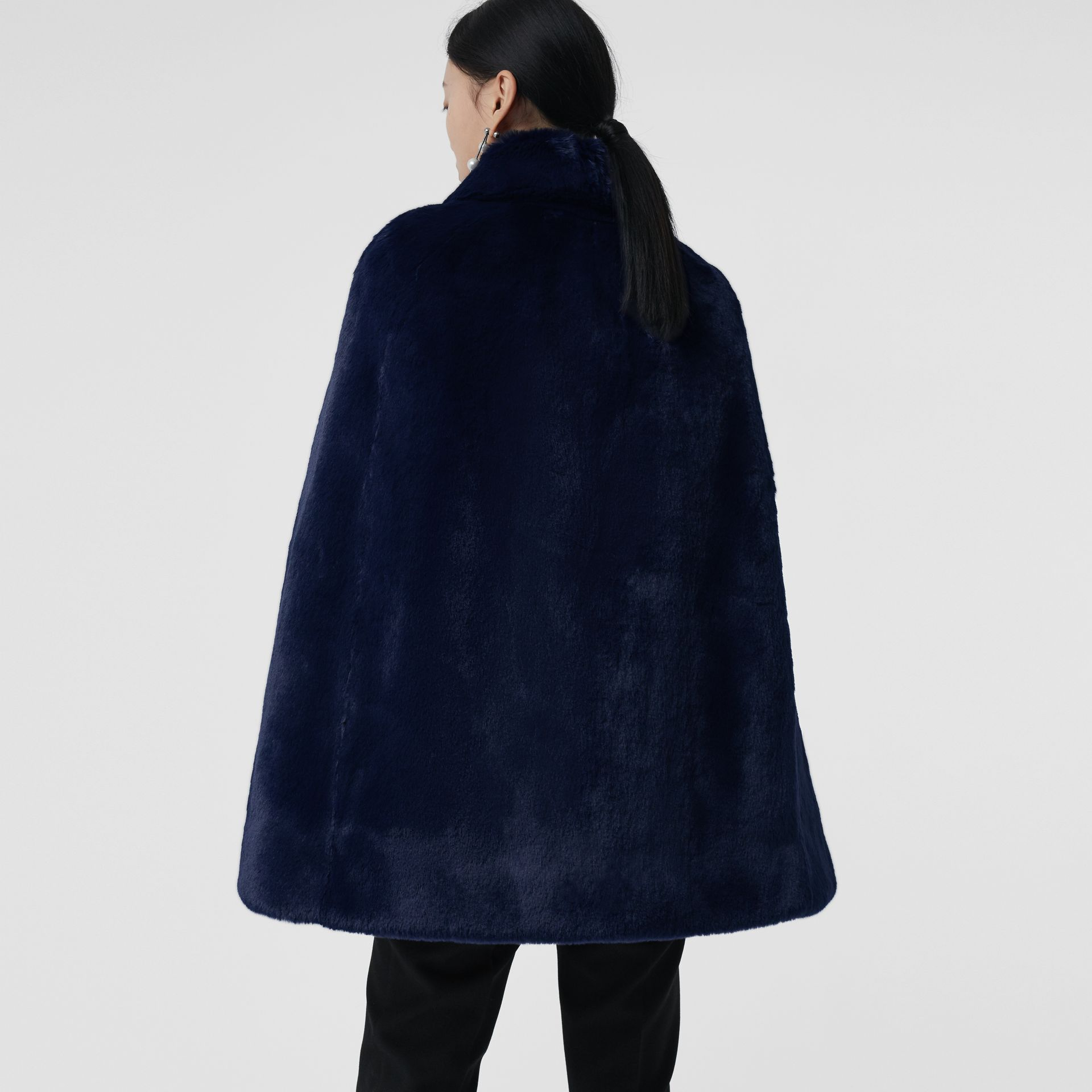 Faux Fur Cape in Navy - Women | Burberry - gallery image 2