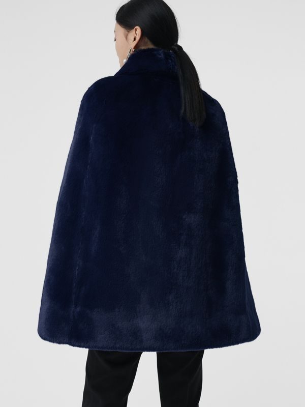 Faux Fur Cape in Navy - Women | Burberry - cell image 2