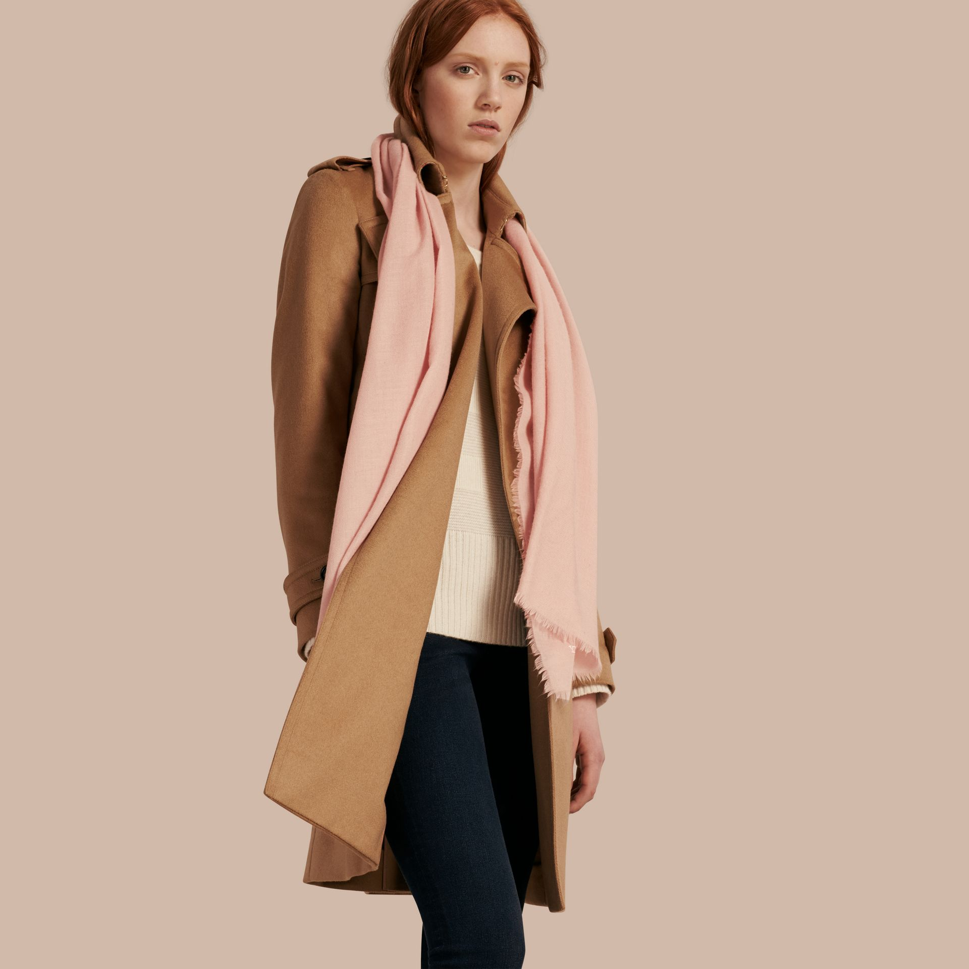 The Lightweight Cashmere Scarf in Ash Rose | Burberry Australia - gallery image 3