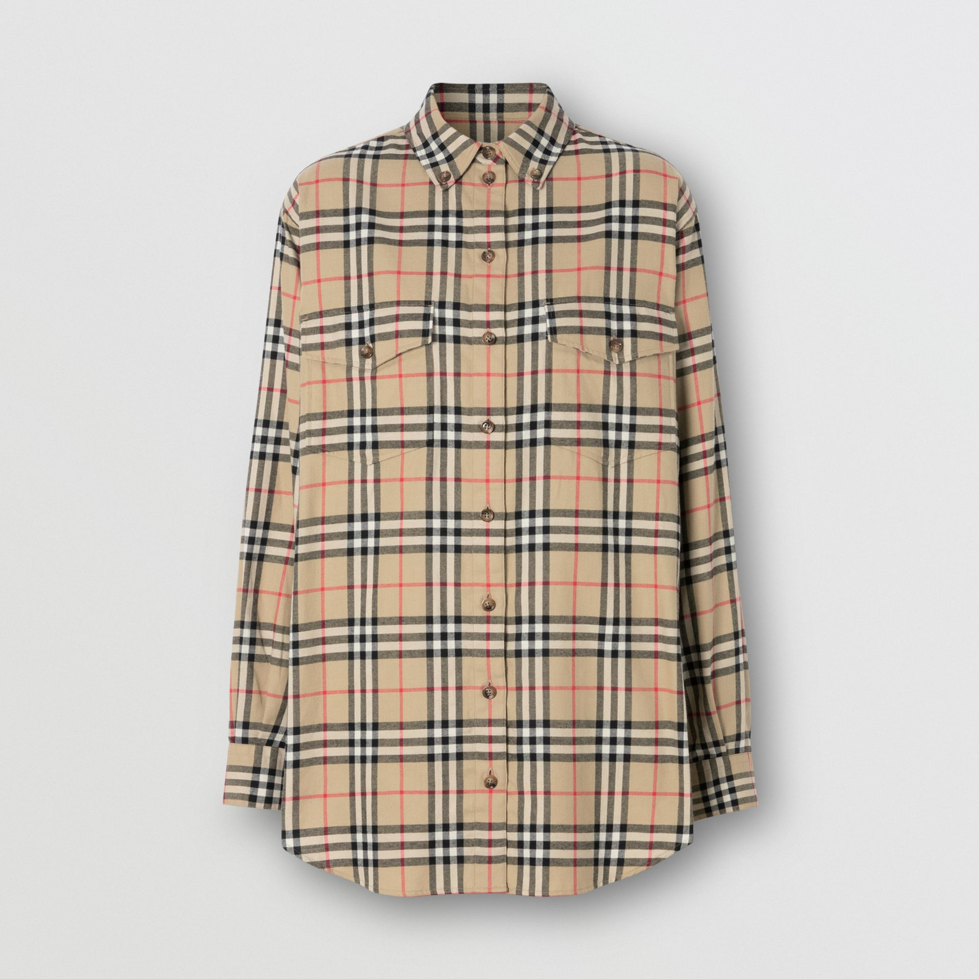 Vintage Check Cotton Flannel Oversized Shirt in Archive Beige - Women | Burberry - gallery image 3