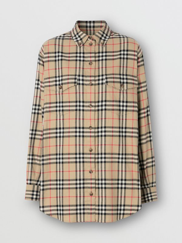 Vintage Check Cotton Flannel Oversized Shirt in Archive Beige - Women | Burberry Australia - cell image 3