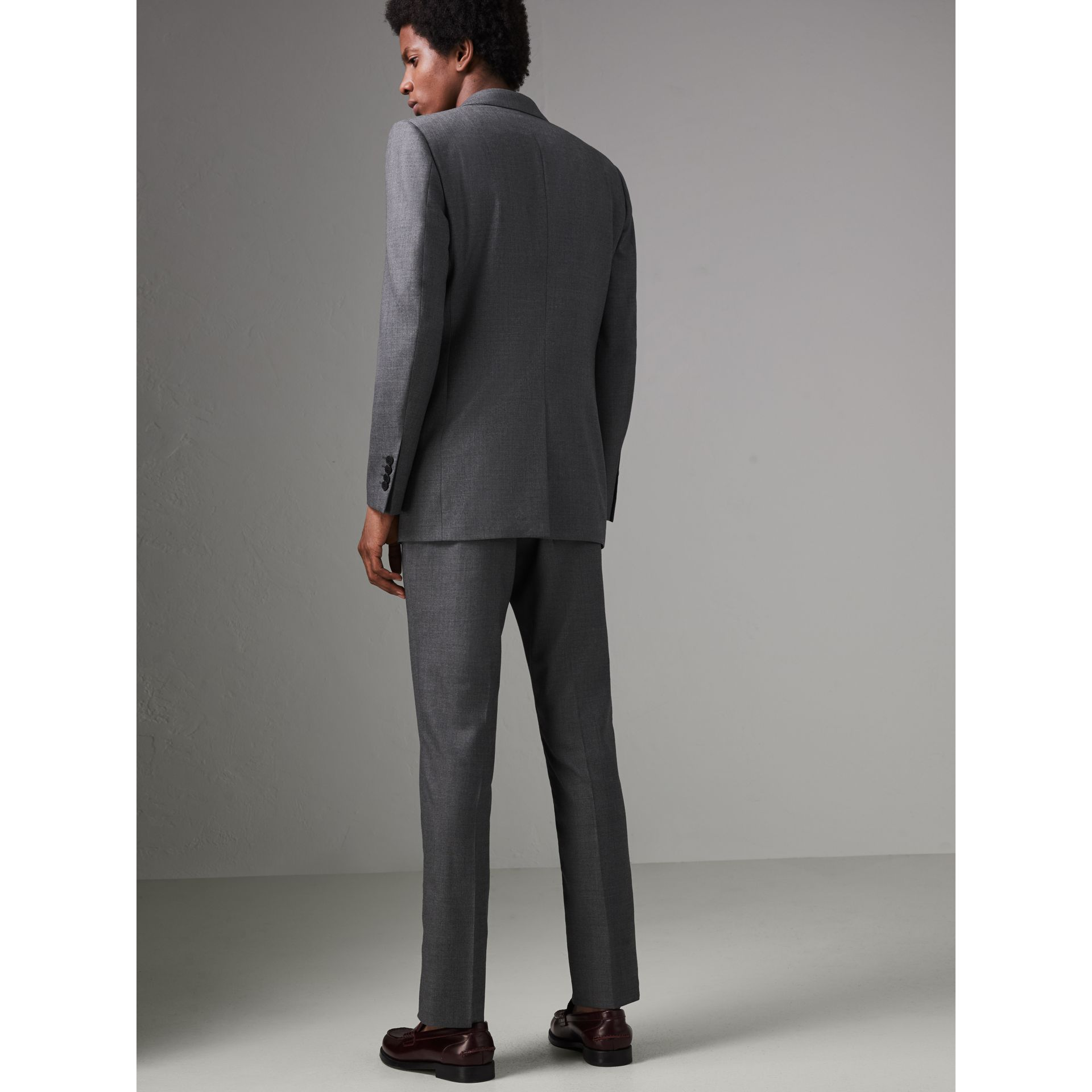 Modern Fit Sharkskin Wool Suit in Mid Grey Melange - Men | Burberry - gallery image 2
